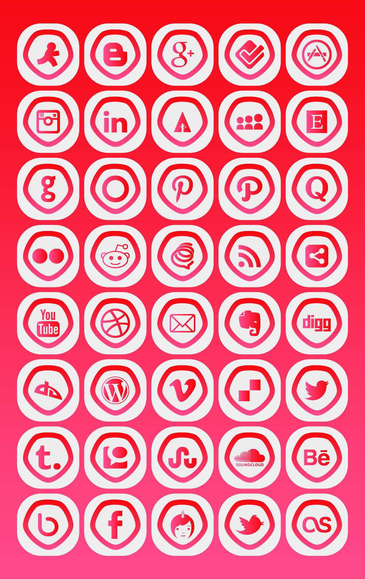 40 Icons mạng xã hội miễn phí