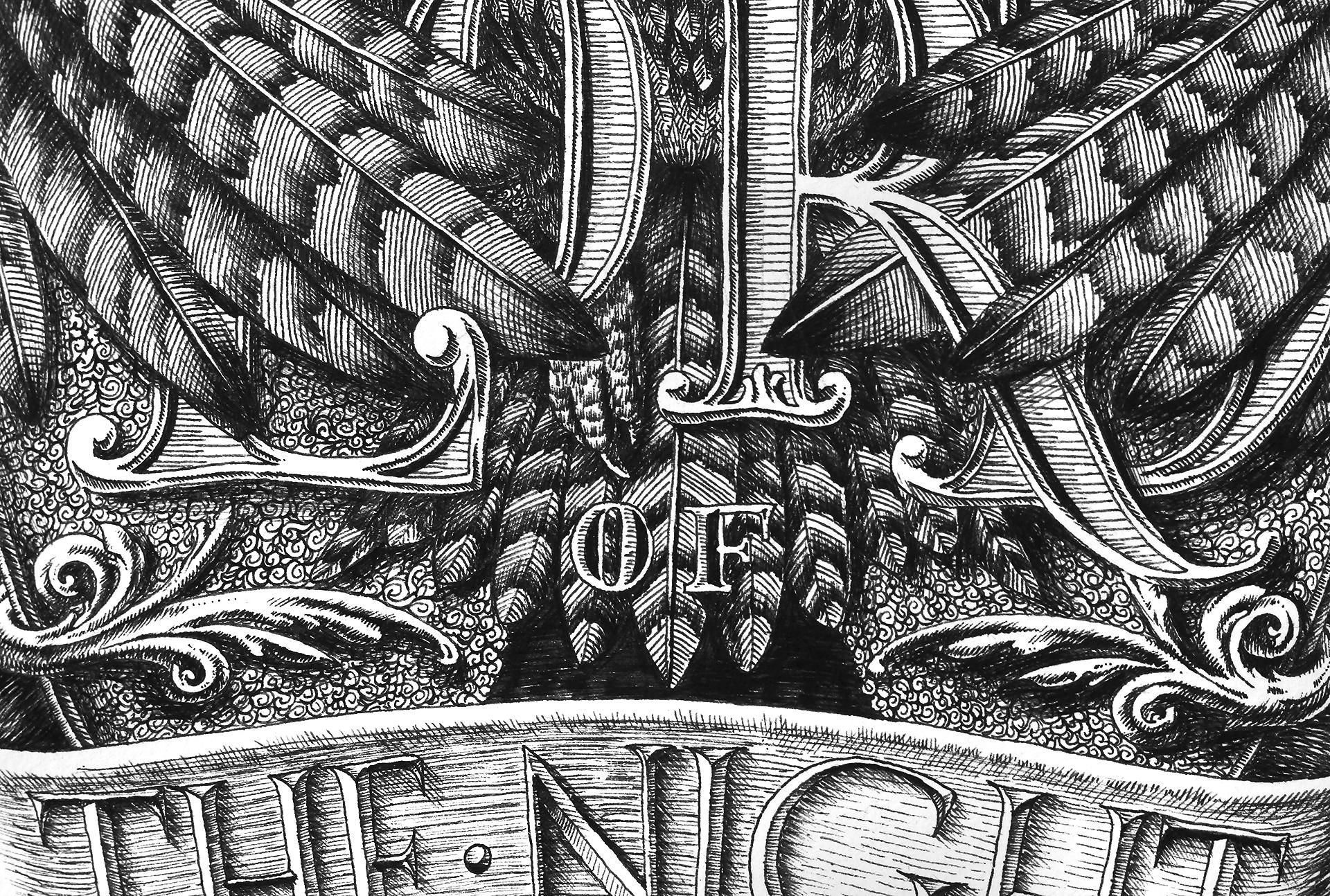 """Tác phẩm """"The lord of the night"""" bằng bút mực trên nền giấy Bockingford"""