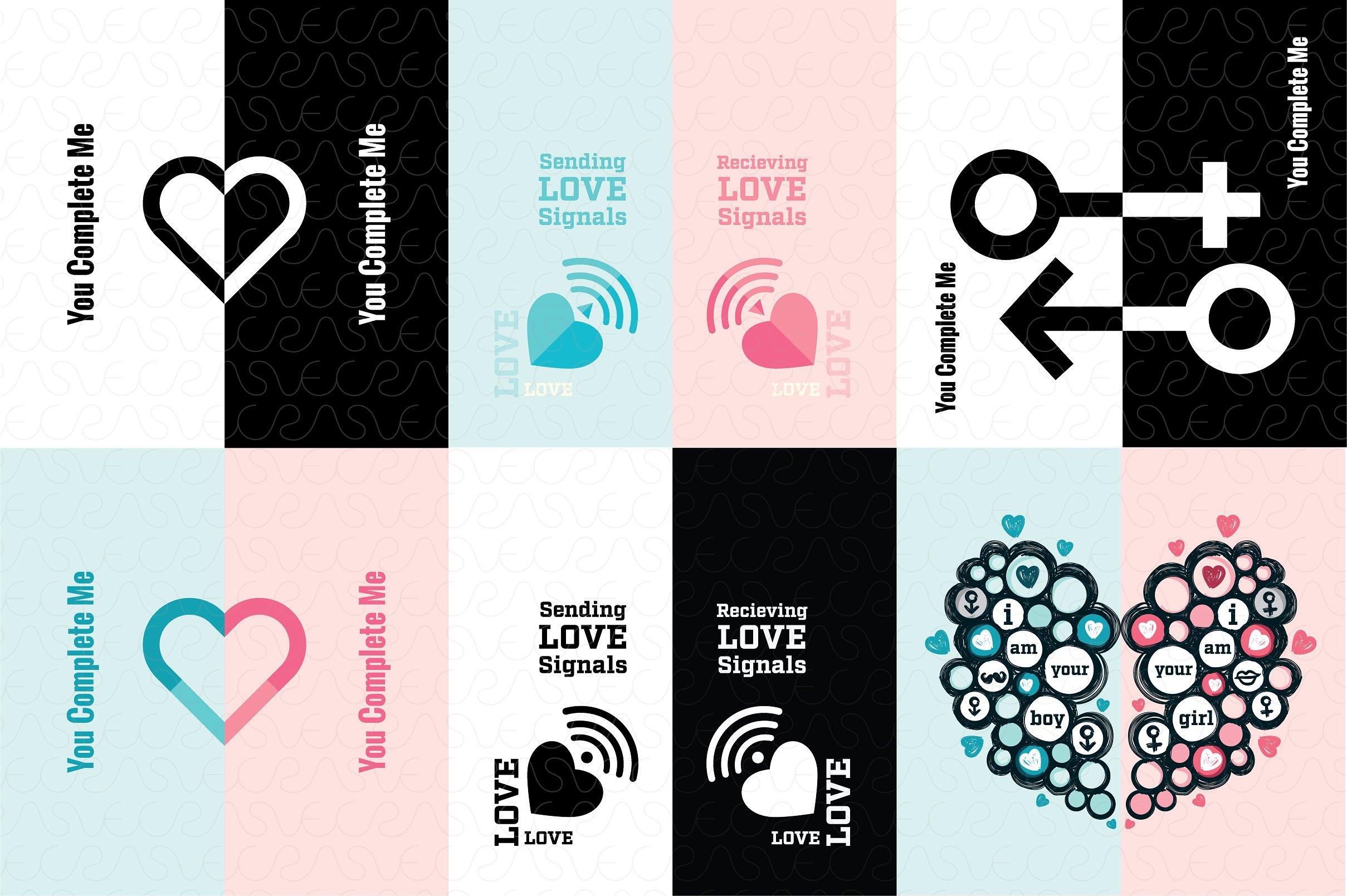 Bộ Vector chủ đề tình yêu lãng mạn