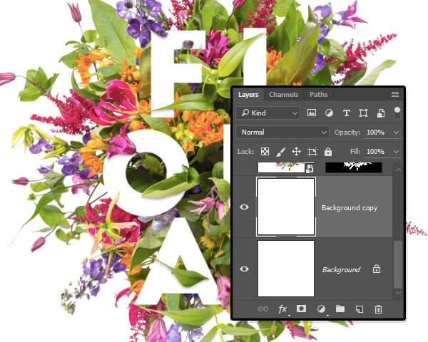 Hướng dẫn cách lồng chữ vào hoa cỏ trong Photoshop