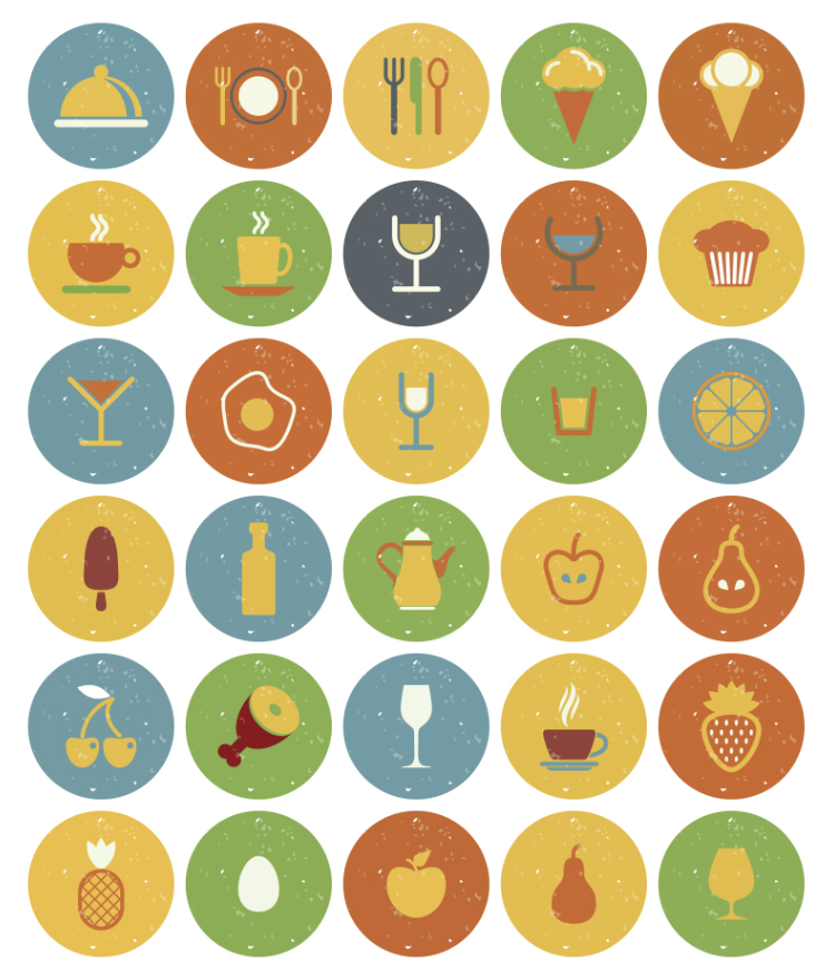 40+ icon thực phẩm và đồ uống kiểu Vintage