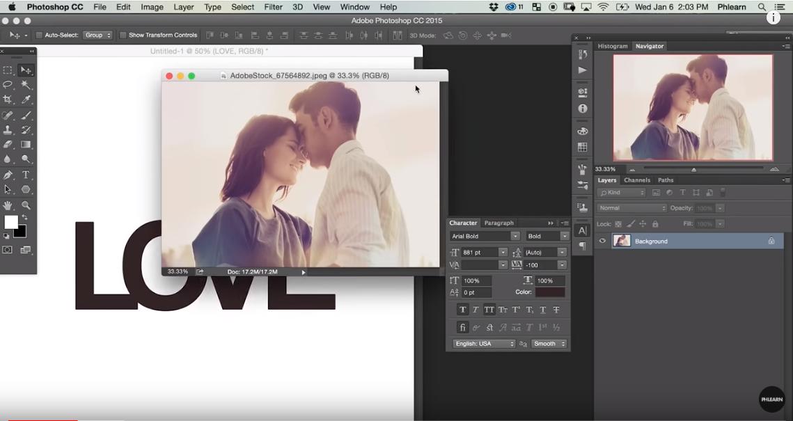 Hướng dẫn ghép hình ảnh vào văn bản trong Photoshop Hướng dẫn ghép hình ảnh vào văn bản trong Photoshop