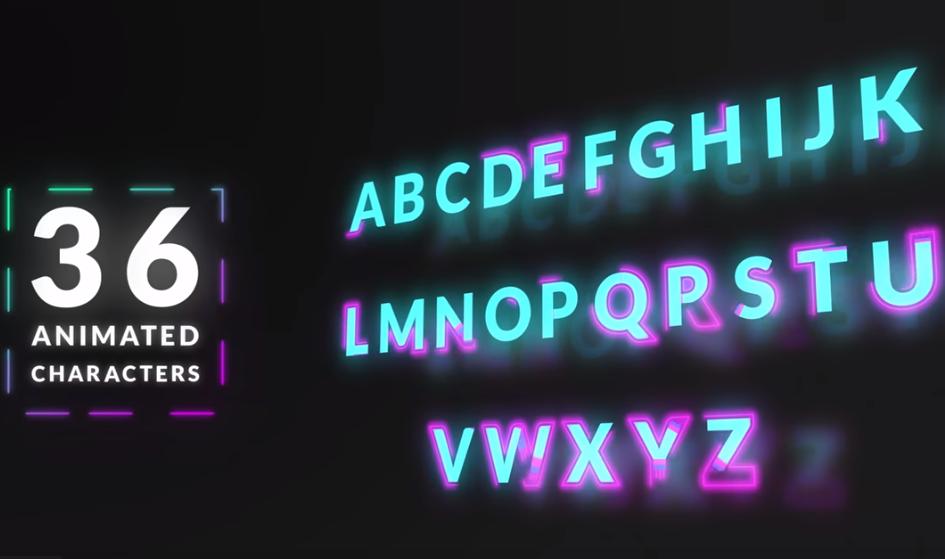 36 Kiểu chữ Neon hoạt hình miễn phí