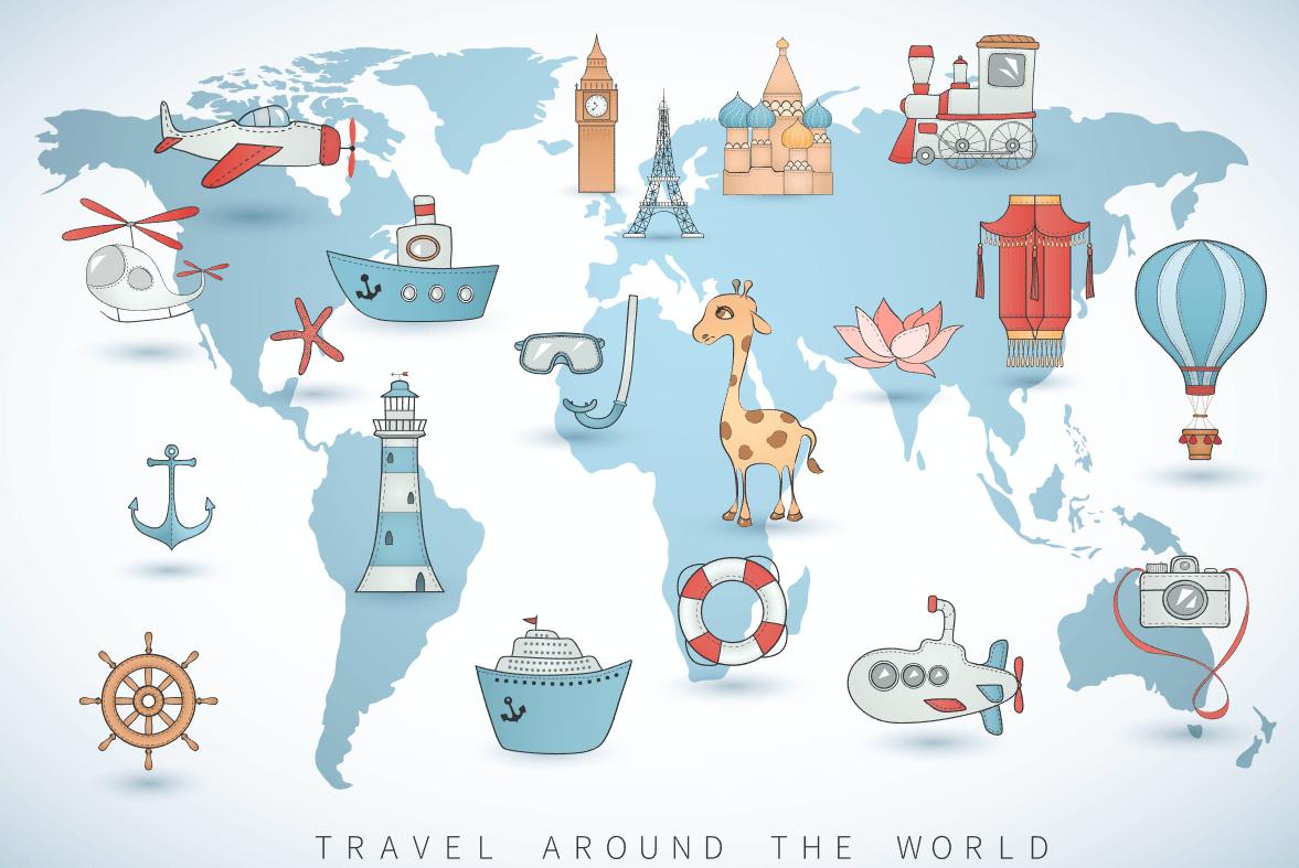 Vector bản đồ du lịch thế giới miễn phí trên Shutterstock Vector bản đồ du lịch thế giới miễn phí trên Shutterstock