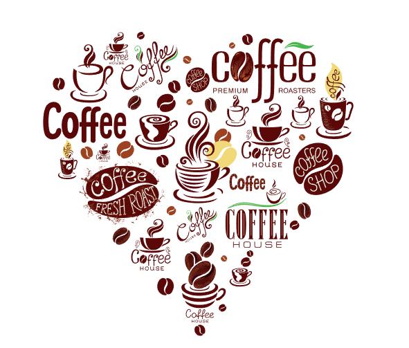 Vector coffee 02 hình trái tim miễn phí