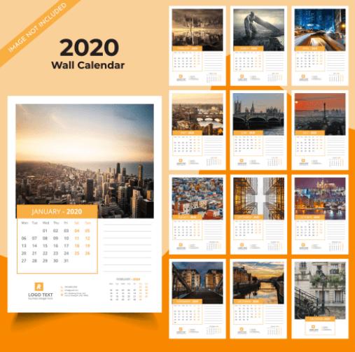Vector lịch treo tường 2020 trên Freepik