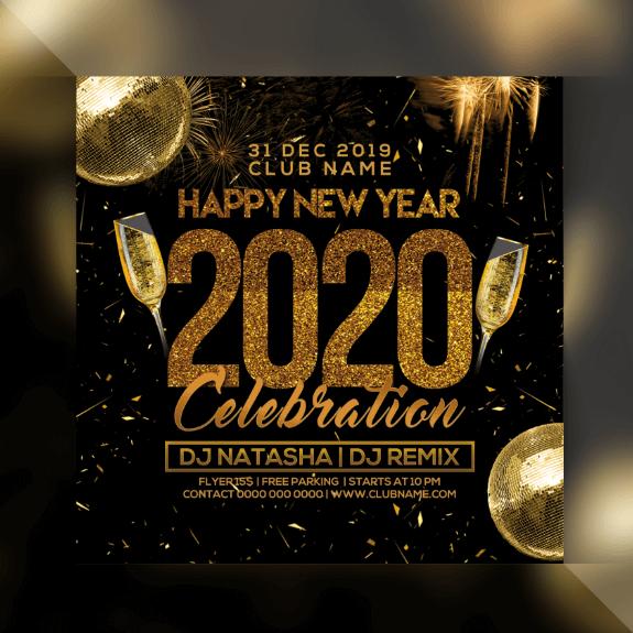 PSD chúc mừng năm mới 2020 free trên Freepik